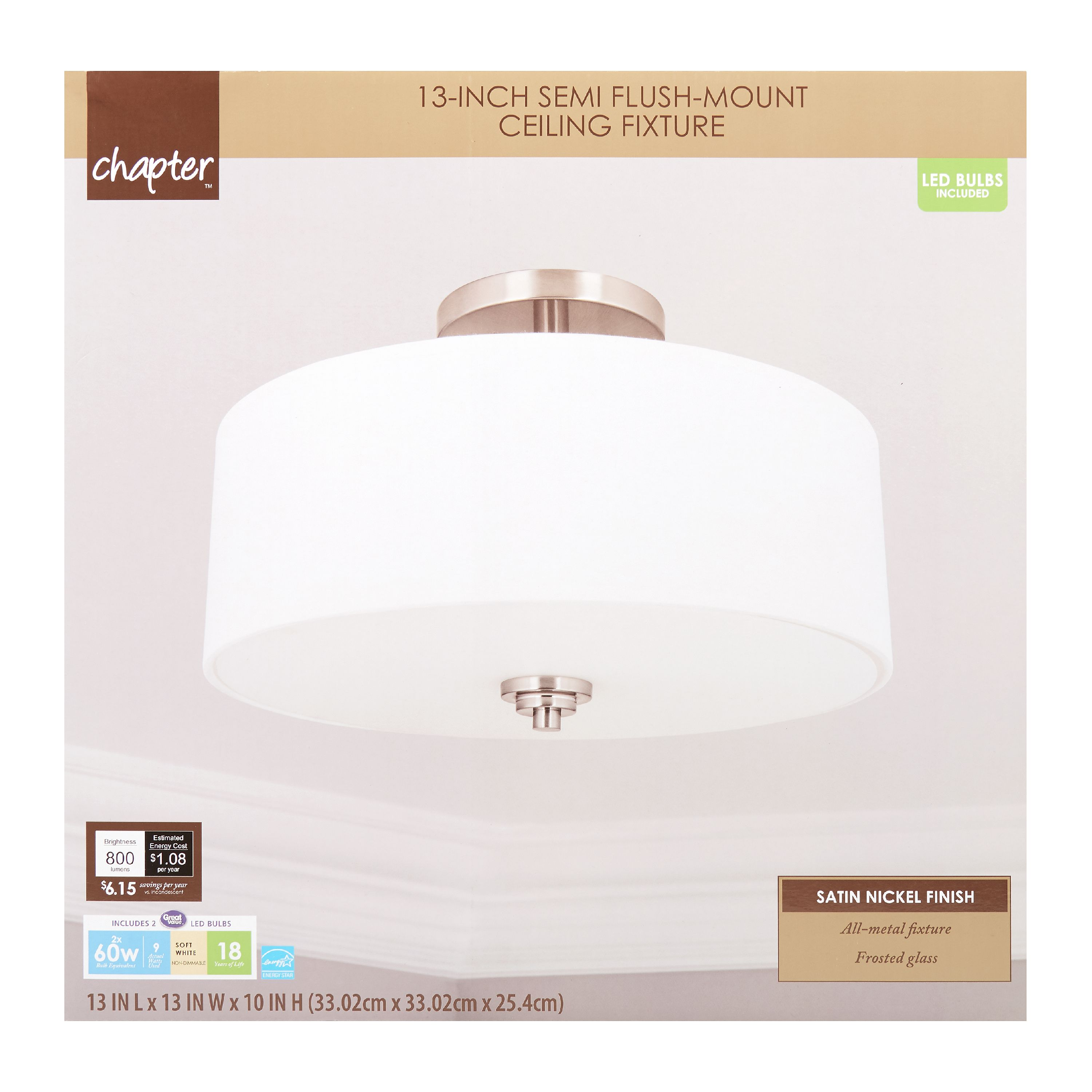 "Chapter 13"" LED Decorative Semi Flush-Mount Ceiling Fixture, Satin Nickel"