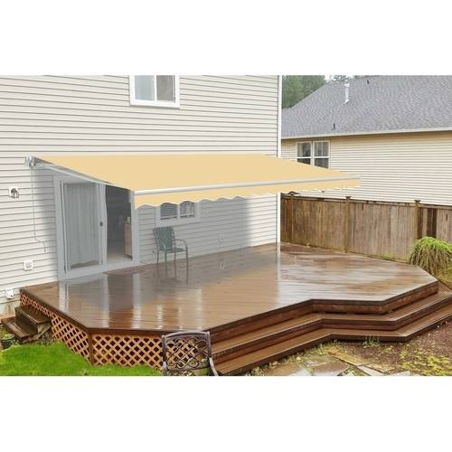 ALEKO 12'x10' Retractable Patio Awning, Ivory Color
