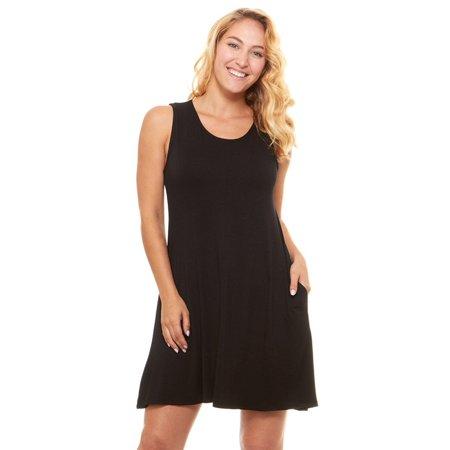 7bb21fee42fe Floopi - Womens Casual Plain Simple Sleeveless Pocket Swing T-shirt ...