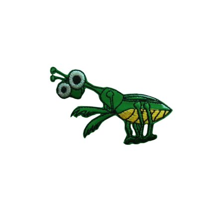 ID 0395 Happy Praying Mantis Patch Bug Insect Life Craft Iron On Badge Applique - Insect Crafts
