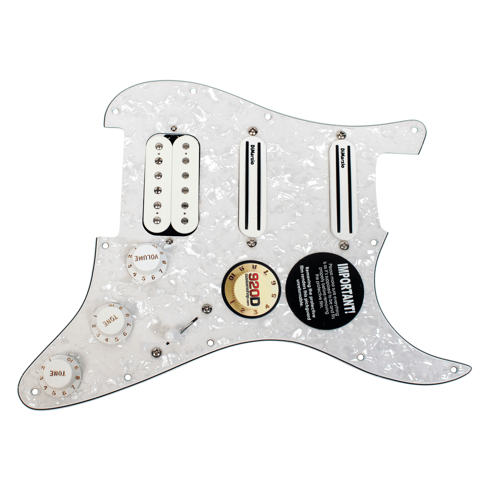 DiMarzio Andy Timmons Loaded Strat Pickguard DP224F AT-1, DP187 Cruiser WP WH by