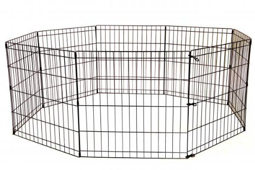 BestPet 30 Inch Tall Dog Playpen 8 Panel Crate Fence   Black