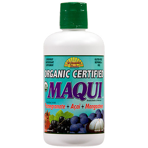 Dynamic Health Organic Certified Maqui Juice Blend with Pomegranate, Acai & Mangosteen, 33.8-Ounce
