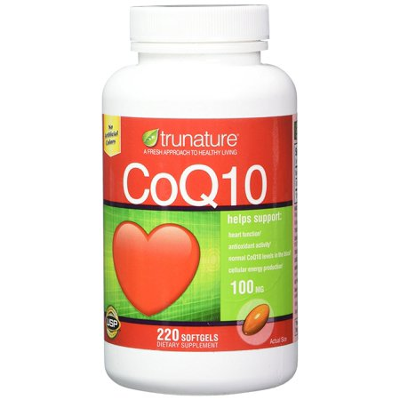 Trunature CoQ10 100mg 220 Softgels Coenzyme Q-10 Heart Health Antioxidant Coenzyme Q10 Antioxidant Vitamins