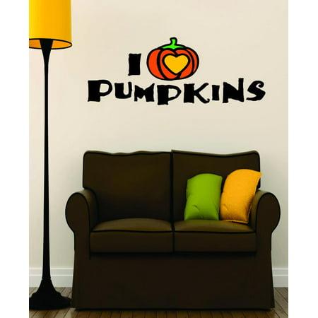 Custom Wall Decal Vinyl Sticker : I Love Heart Pumpkins Halloween Holiday Fall Seasonal Decoration Sign 16x32 for $<!---->
