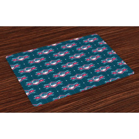 Sport 4 Fun (Sports Placemats Set of 4 Modern Baseball Pattern Competing Player Uniform Fun Games Artwork, Washable Fabric Place Mats for Dining Room Kitchen Table Decor,Petrol Blue Hot Pink White, by Ambesonne)