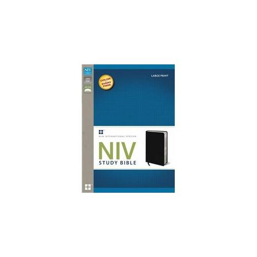 NIV Study Bible/Large Print-Black Bonded Leather