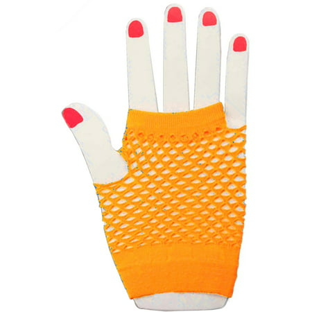 Adults  Neon Orange Fishnet Fingerless 80s Rock Costume Half Gloves