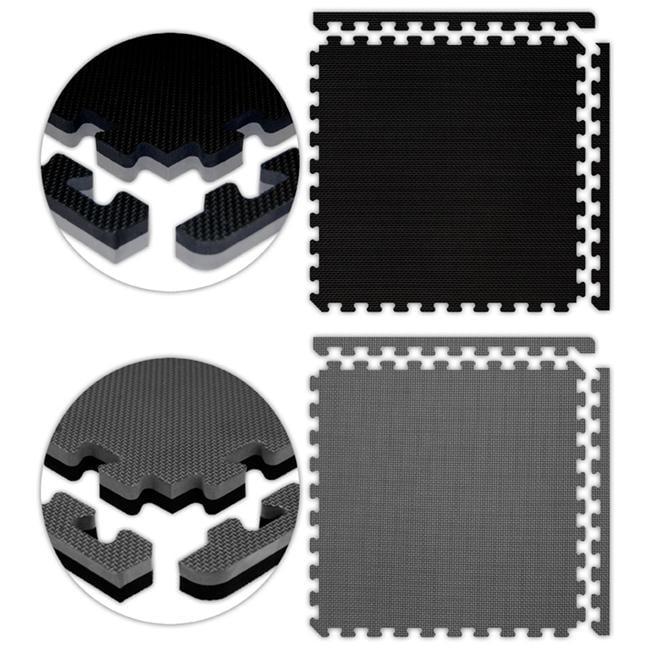 Alessco JSFRBKGY1212 Jumbo Reversible SoftFloors -Black-Grey -12  x 12  Set