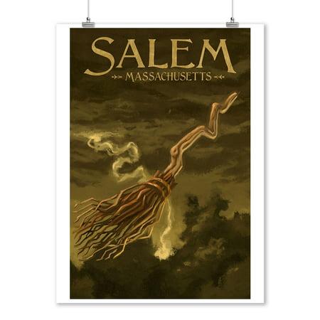 Salem, Massachusetts - Witch's Broom - Halloween Oil Painting - Lantern Press Artwork (9x12 Art Print, Wall Decor Travel Poster)