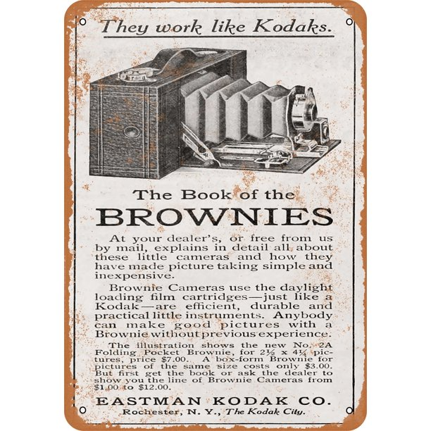1910 Eastman Kodak Brownie Cameras Metal Sign 10x14 Inch Vintage Look Walmart Com Walmart Com