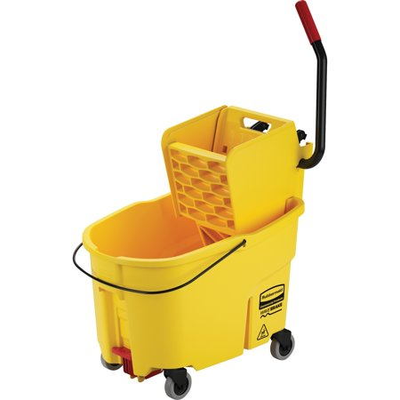 Wringer System - Rubbermaid Commercial, RCP618688YEL, Wavebreak 44-Quart Side Press Mopping System, 1 Each, Yellow
