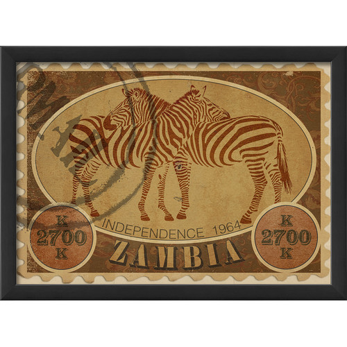 The Artwork Factory Zambia Postage Stamp Framed Graphic Art