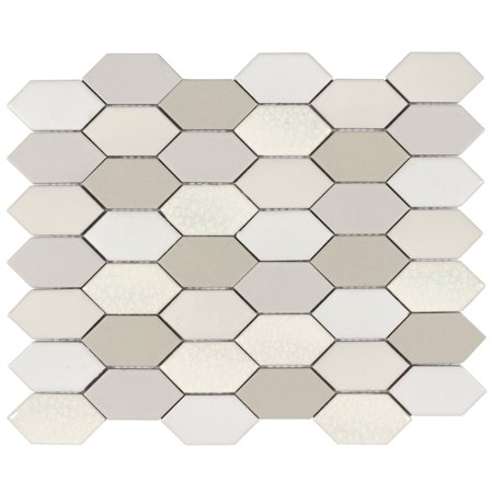 MTO0021 Hexagon 2X3 Beige Gray White Natural Glazed Handmade Ceramic Mosaic Tile Glazed Ceramic Mosaic Floor