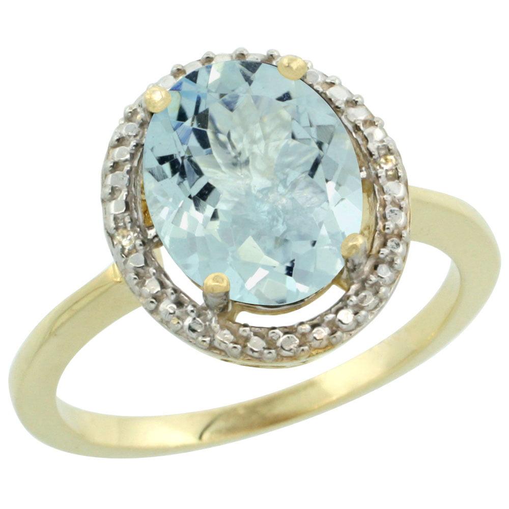 14K Yellow Gold Diamond Natural Aquamarine Ring Oval 10x8mm, sizes 5-10 by WorldJewels