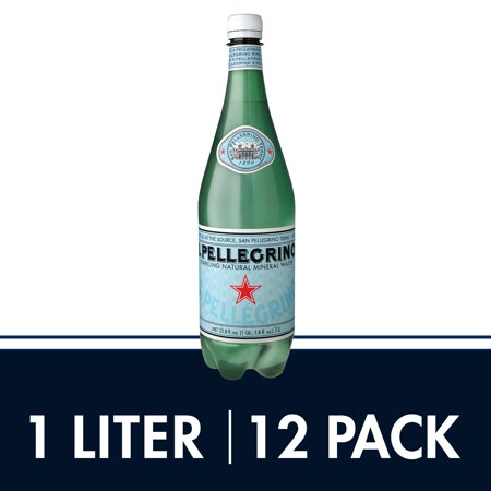 S.Pellegrino Sparkling Natural Mineral Water, 33.8 fl oz. Plastic Bottles (Pack of