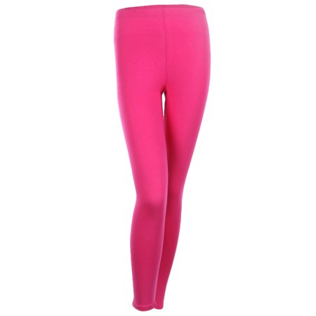 Neon Green Leggings (Cotton Full Length Leggings Plain Skinny Pants For Women Junior Size, Hot Pink,)