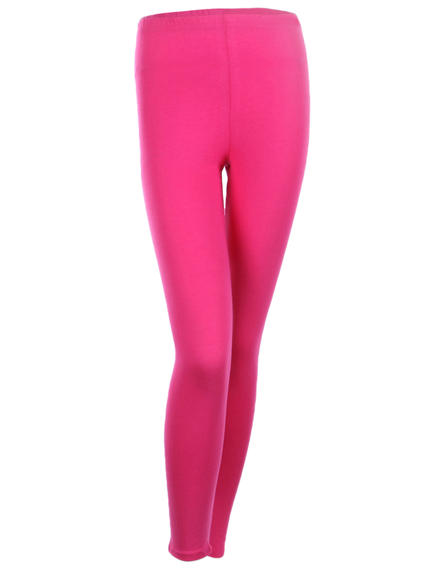 Cotton Full Length Leggings Plain Skinny Pants For Women Junior Size, Hot Pink, XL