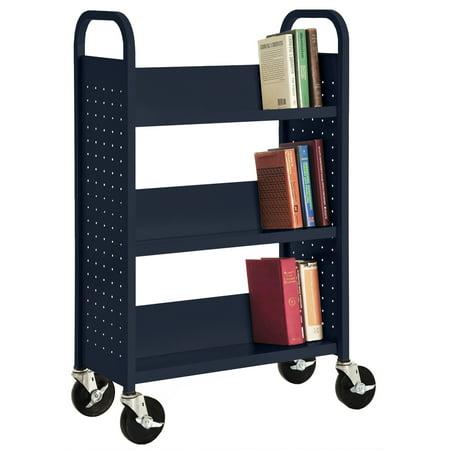 28 in. W x 14 in. D x 46 in. H Single Sided 3 Sloped Shelf Welded Bookcase in Navy ()
