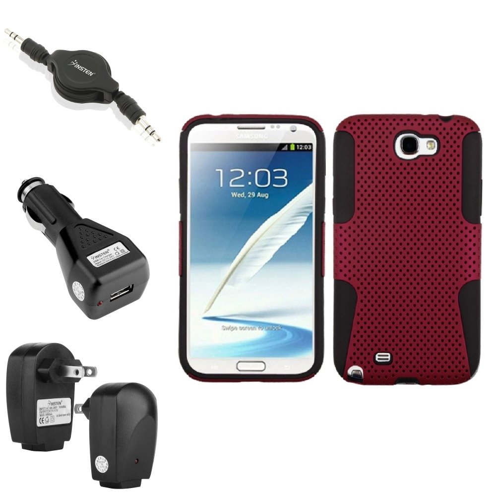 Insten Black/Red Hybrid Case 2x Charger Audio Cable For Samsung Galaxy Note 2 II