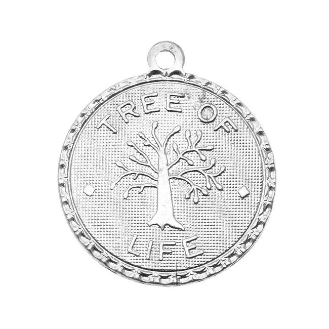 Vintaj Artisan Pewter - Round Tree Of Life Token Charm 18.5x21mm (1)