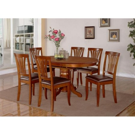 - Wooden Imports Furniture AV5-SBR-LC 5PC Avon Dining Table and 4 Faux Leather Upholstered Seat Chairs in Saddle Brown