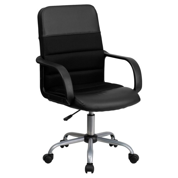 Flash Furniture Mid-Back Black LeatherSoft and Mesh Swivel Task Office Chair with Arms
