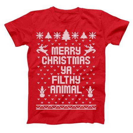Merry Christmas Ya Filthy Animal Ugly Small Red Basic Men's T-Shirt