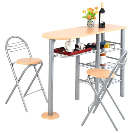 Costway Pub Dining Set Counter Height 3 Piece Table and Chairs Set Breakfast Kitchen ()