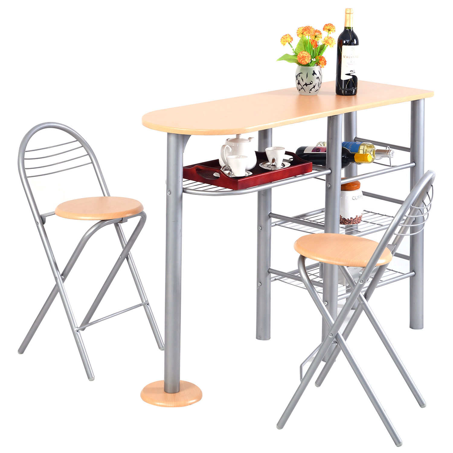 Costway Pub Dining Set Counter Height 3 Piece Table and Chairs Set Breakfast Kitchen