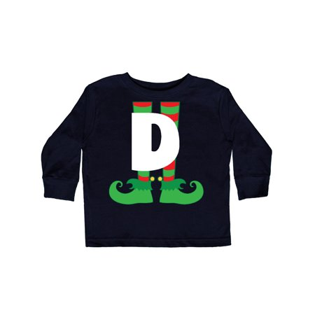 Christmas Elf Feet Letter D Monogram Toddler Long Sleeve T-Shirt - Monogram Kids Clothes