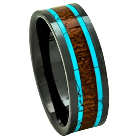 Men's Koa Wood Wedding Band with Turquoise 8mm Flat Top Black Ceramic Size 8 to 15 (14) - Turquoise And Black Wedding