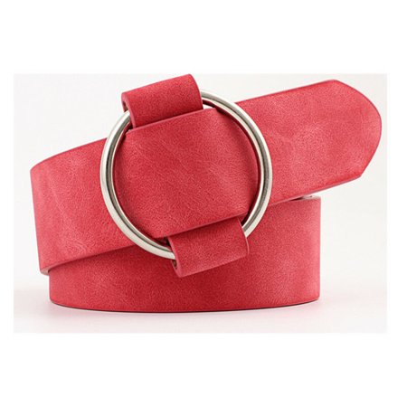 Women Lady Vintage Metal Boho Leather Round Buckle Waist Belt Waistband UP - Leather Vintage Belt