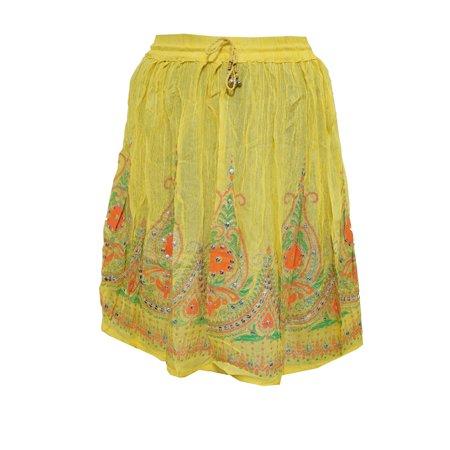 Mogul Womens Beach Skirt Yellow Sequin Fashion Short Skirts