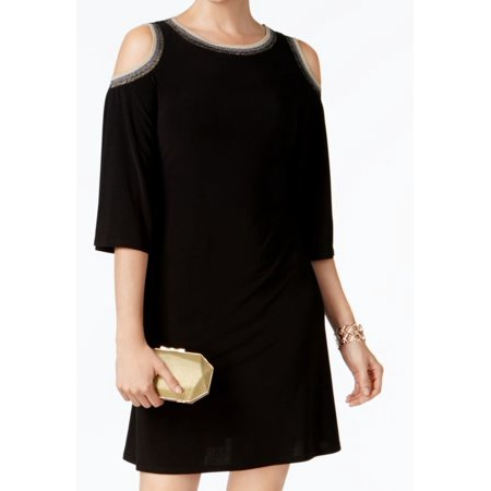 MSK NEW Black Womens Size Medium M Cold-Shoulder Shimmer Shift Dress](Shimmer Dresses)