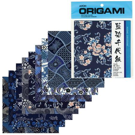 Aitoh Chiyogami Washi Paper, Aizome Chiyogami, 5-7/8