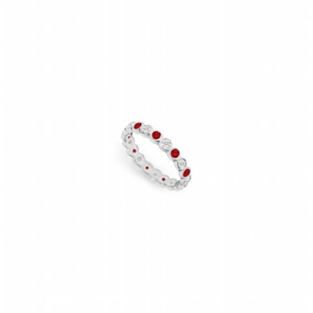 Natural Diamond & Rubies Eternity Band 18K White Gold - Size 4.5
