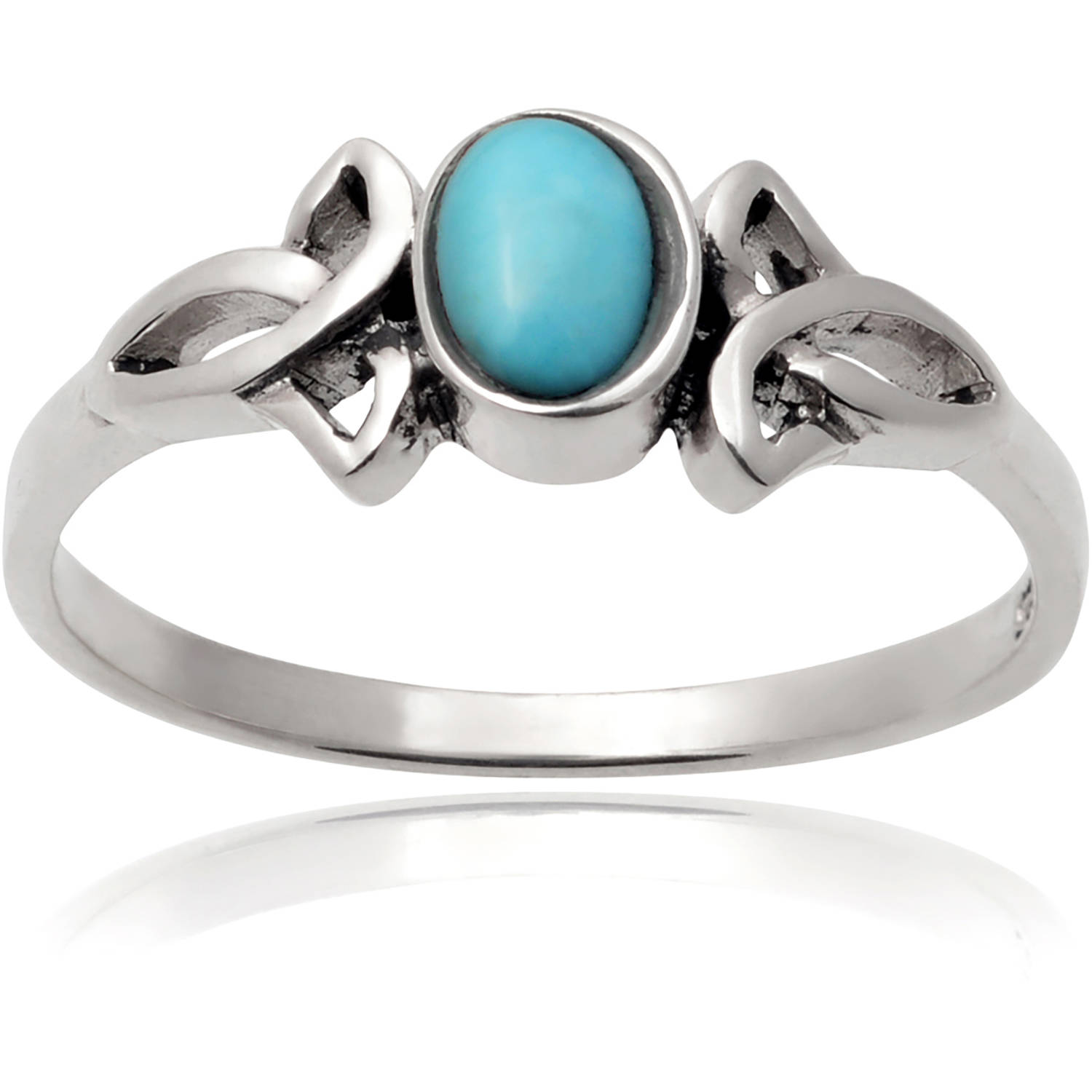 Brinley Co. Women's Turquoise Sterling Silver Celtic Knot Fashion Ring, Turquoise