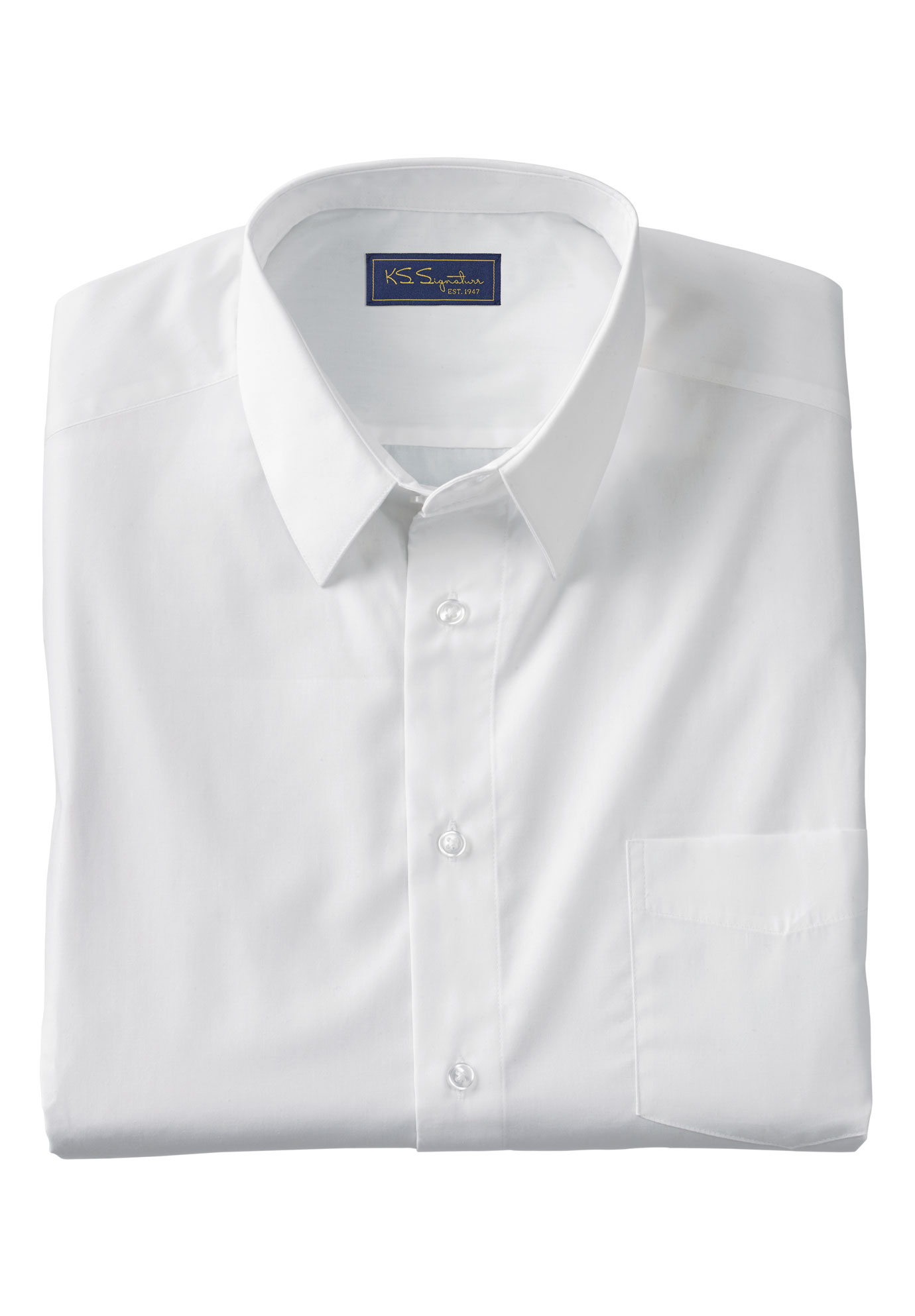 KS Signature by Kingsize Mens Big /& Tall No Hassle Long-Sleeve Dress Shirt