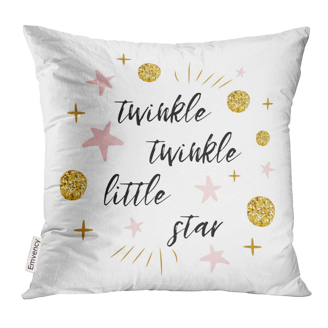 ARHOME Twinkle Little Star Text with Cute Gold Pink Colors for Girl Children Birthday Label Sign Inspirational Pillow Case 16x16 Inches Pillowcase