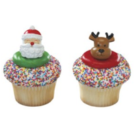 Santa & Reindeer 3D Cupcake Rings Party of 24 Cupcake Decoration Kit
