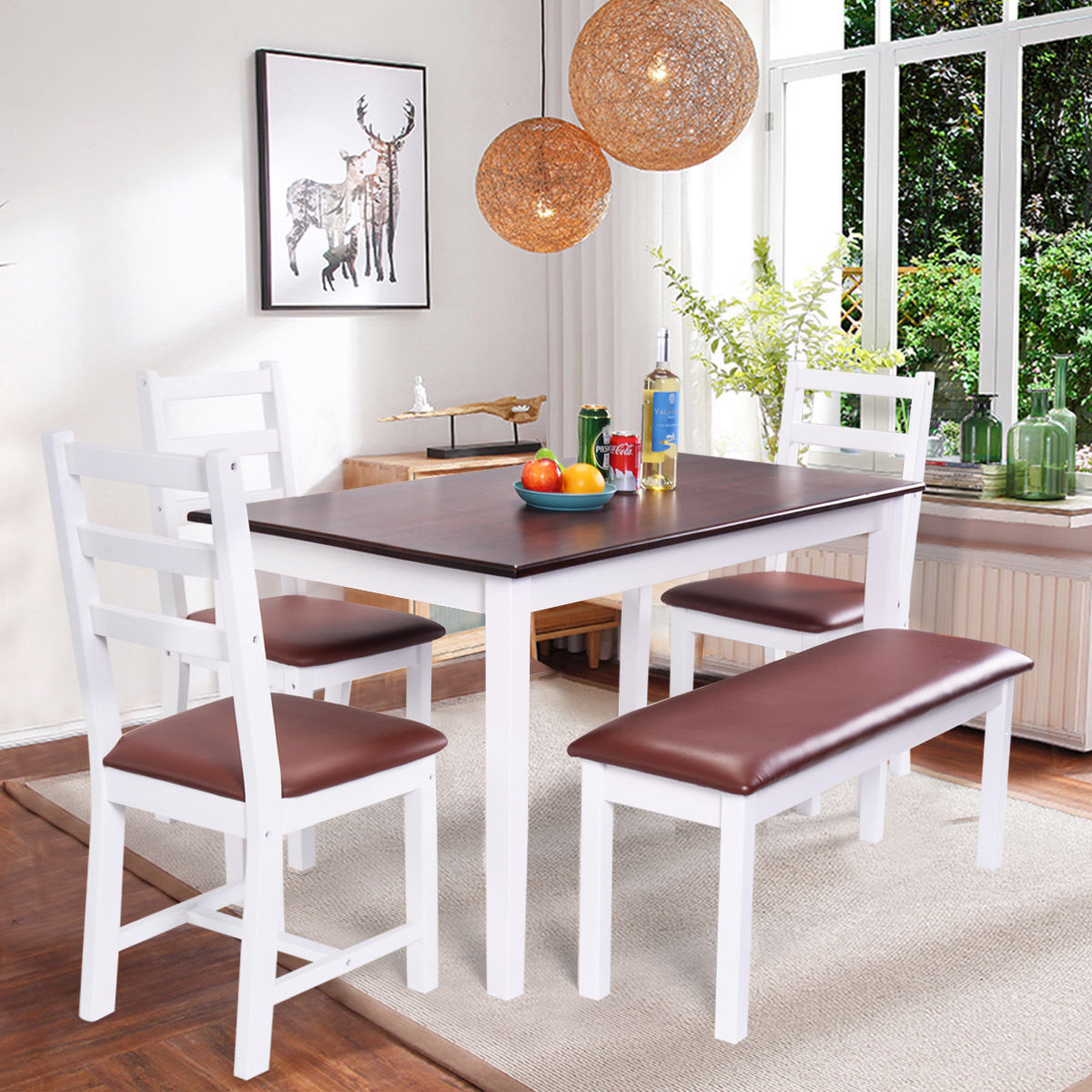 Costway 5pc Dinning Table Set 3 Chairs 1 Bench Home Kitchen Dinette  Breakfast Furniture