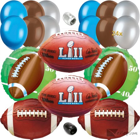 Super Bowl Lii 52 Party Decoration Ultimate 32Pc Balloon Pack  Blue Silver Brown