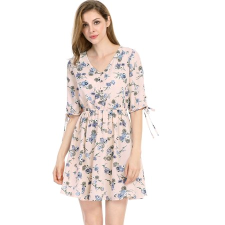 Unique Bargains Women's V Neck Half Placket Tie Cuffs Floral Dress