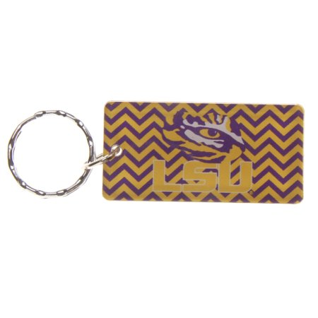 LSU Tigers Chevron Printed Acrylic Team Color Logo Keychain - No