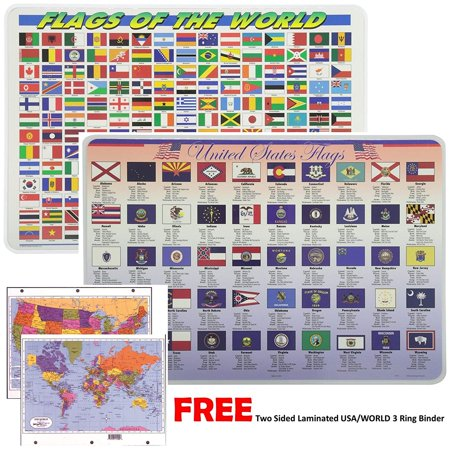 Painless Learning Educational Placemats For Kids Laminated Flags of The World and Unites States Flags Set Free Two Sided UNITED STATES/WORLD Maps 3-Ring Binder
