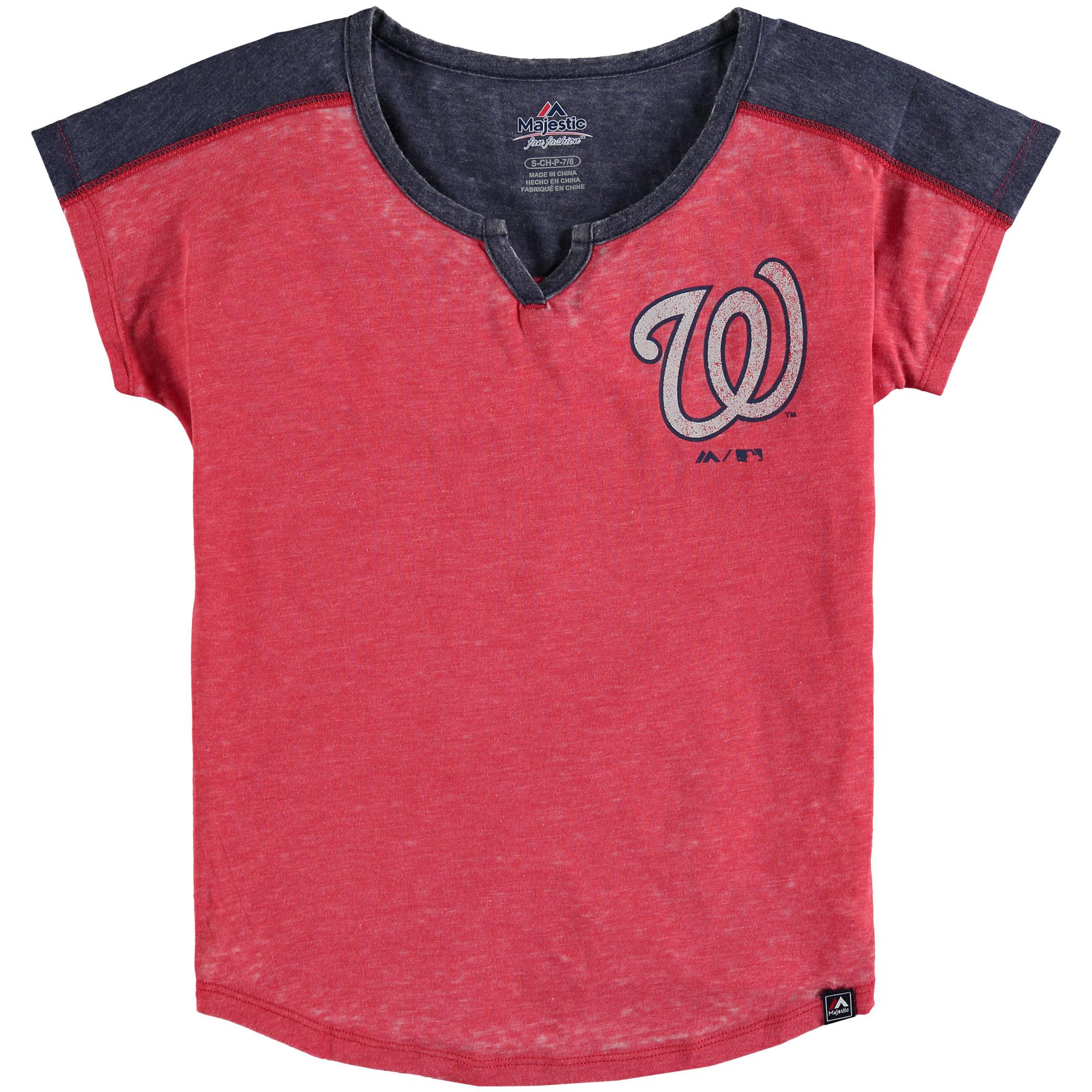 Washington Nationals Majestic Girls Youth Ballpark Best Color Block Dolman Sleeve T-Shirt - Red/Navy