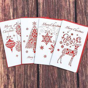 Fancyleo Creative Paper Cut Merry Christmas Folding Cards Xmas Blessing Cards for New Year Christmas Gift Random Pattern - New Year Gift