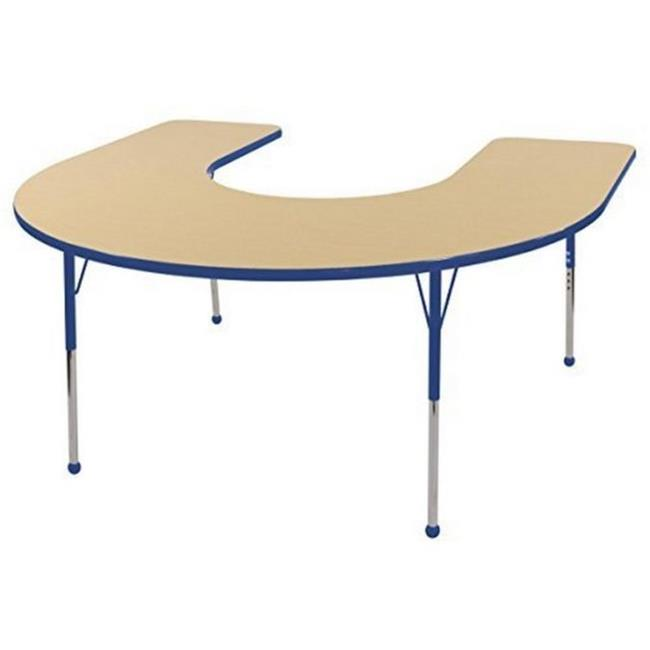 s 60 x 66 in. Horseshoe Adjustable Activity Table with Toddler Legs, Ball Glides Maple & Blue by GreatGames