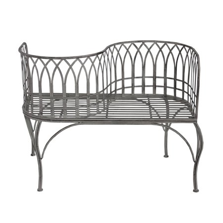 Astounding 40 Cloud Gray Rustic Distressed Metal Outdoor Patio Victorian Courting Bench Machost Co Dining Chair Design Ideas Machostcouk